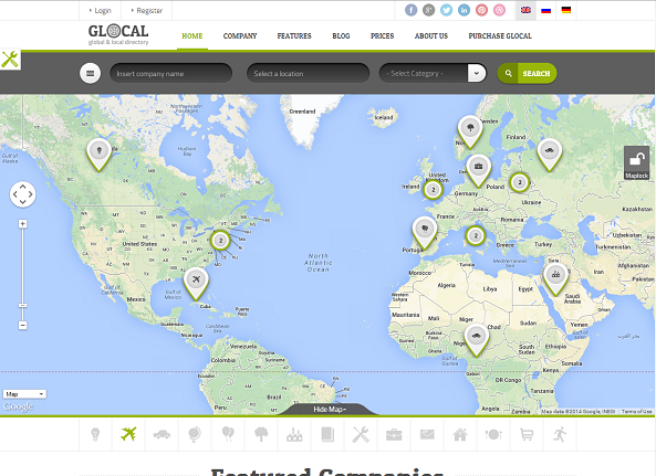 GLOCAL - Directory Listings Wordpress Theme