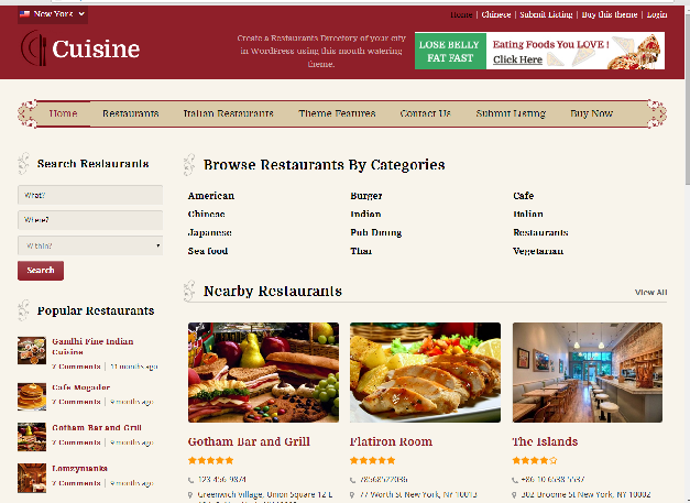 Responsive Restaurants Directory Wordpress Theme